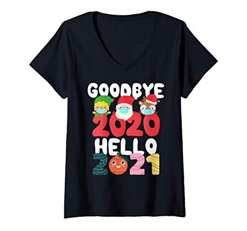 Femme Bonne Année 2021 Masque Visage Noël Pyjama Famille Noël T-Shirt avec Col en V