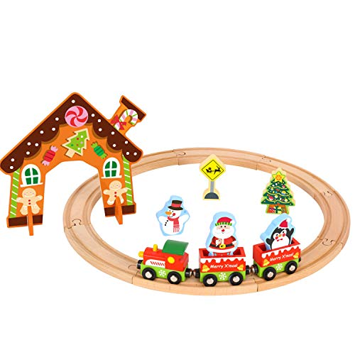 Christmas Wooden Train Set Toys for 2 Year Old boy and up (Christmas Train Set)