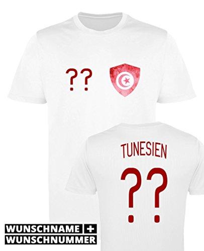 Comedy Shirts - Tunesien Trikot - Wappen: Klein - Wunsch - Damen Trikot - Weiss/Rot Gr. S