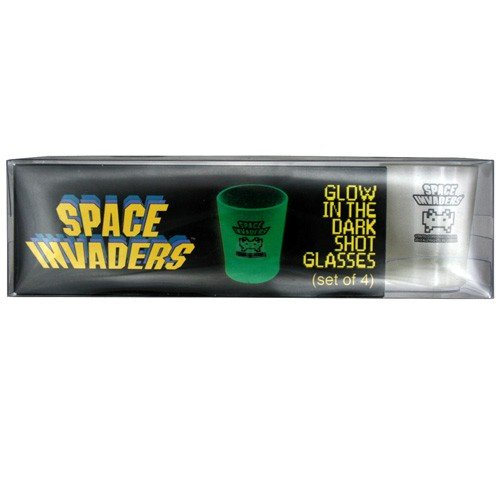 50Fifty Concepts - Set 4 Bicchierini da Shot Space Invaders Che Si Illuminano al Buio