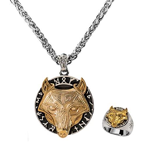 AMOZ Nordic Runes - Collar con Colgante de Anillo de Cabeza de Lobo de Oro Mezclado para Hombres, Joyería Pagana Nórdica de Acero Inoxidable Vikingo, Accesorios de Hip Hop Vintage Punk Street Rock, 0