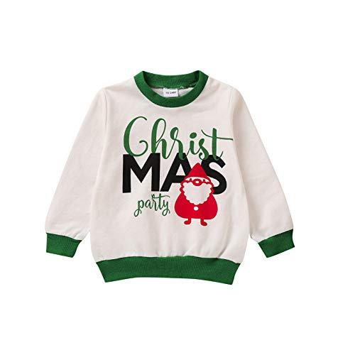 Kleinkind Weihnachten Weihnachtsmann bedrucktes T-Shirt Langarm Rundem Hals T-Shirts...