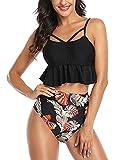 TOPLAZA Bikini con Volantes Mujer Top Tirantes Ajustable Braga Talle Alta Estampado de Flores
