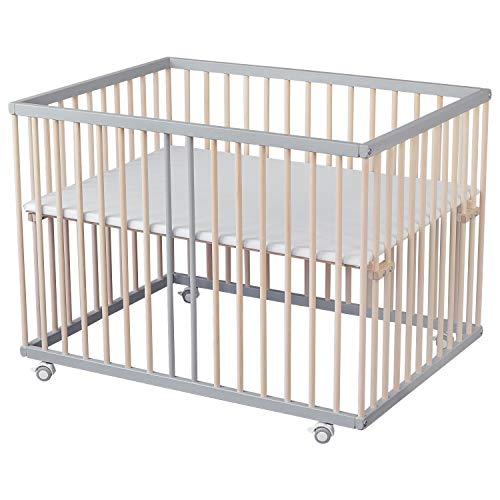 Sämann® Laufgitter 75x100 cm grau/natur, TÜV geprüft 2020, stufenlos höhenverstellbar, Buche Laufstall für Babys (Schlupfsprossen)