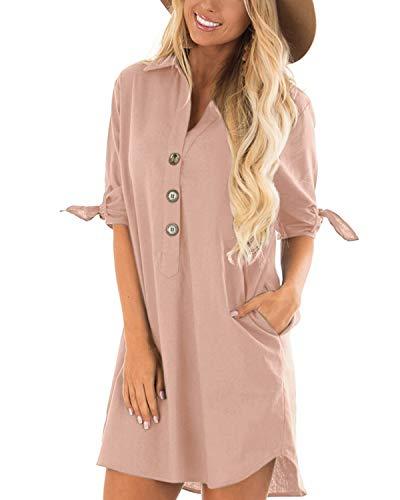 CNFIO Sommerkleid Damen Elegant Kleider V-Ausschnitt 1/2 Ärmel Einfarbig Shirt Design Kurz Blusenkleid Minikleid Strand Kleider Rosa EU46