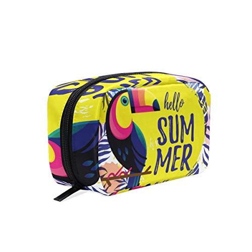 Trousse de toilette pour cosmétiques, maquillage, trousse de toilette pour sac à main, organiseur avec compartiments accessoires de voyage, mini femme, Hello Summer Perroquet