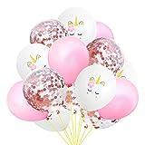 EZESO 15pcs 12 Pouces Ballons Licorne Confetti Ballons de Fête en Latex Multiples Ensemble de Ballons pour Décorations d'anniversaire, de Mariage ou de Fête (C)
