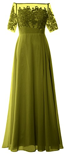 MACloth Women Long Mother of Bride Dress Off Shoulder Lace Wedding Evening Gown (US20w, Olive Green)