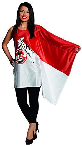 Luxuspiraten - Damen Frauen rot weißes 1. FC Köln Kostüm mit Flaggenkleid Fahne mit Geißbock Logo, perfekt für Karneval, Fasching und Fastnacht, XL, Rot