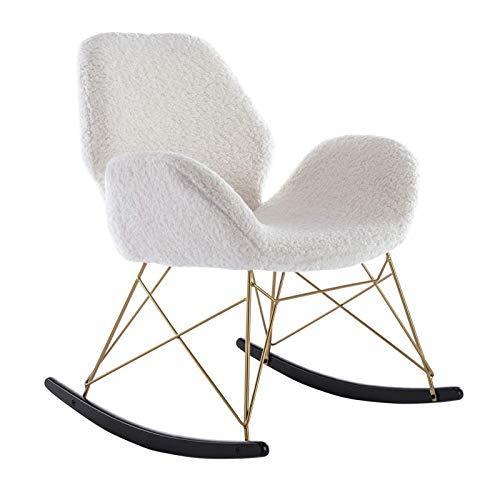 PHLPS Schaukelstuhl Faux Pelz weich, Pelz Schaukelstuhl Sessel, Kindergarten Rocker Lounge Chair Liegestuhl Für Modernes Innensessel für Wohnzimmer Schlafzimmer (Color : Weiß)