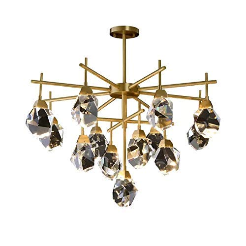 LLLKKK Φ75 × 51 cm Lujosa lámpara LED de techo de latón candelabro de cristal G4 * 13 luz cálida de salida, decoración de salón, dormitorio, comedor, estudio.