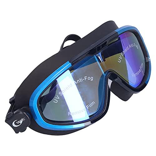 Pwshymi Gafas de natación Gafas de natación de visión Amplia Protección UV Antiniebla Protección Profesional Gafas de natación con Marco Grande para Adultos(Azul y Negro)