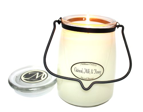 Milkhouse Candle Creamery Scented Soy Candle: Butter Jar Candle, Oatmeal/Milk/Honey, 22-Ounce