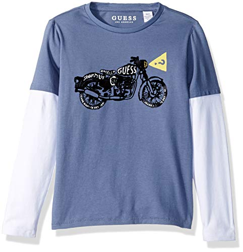 GUESS Boys' Little Long Sleeve Layered Graphic T-Shirt, Aegean Blue, 6