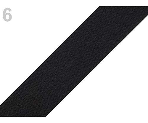 5m Negro cinta de Algodón Ancho 25 mm, Correas, artículos de Mercería