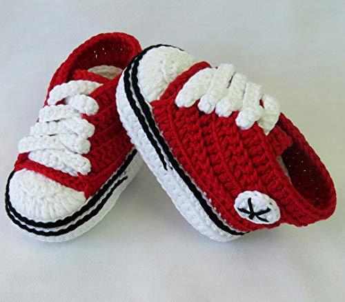 Stivaletti per Bambino, tipo Converse, Rosso, 3-6 mesi. Fatto a Mano. Uncinetto. España