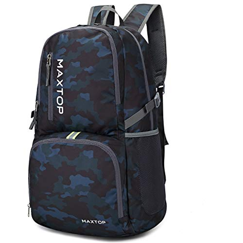 MAXTOP Lightweight Packable Backpack for Traveling & Hiking - Durable 40L Foldable Outdoor Travel Daypack for Men & Women (Camo Black, 40L)