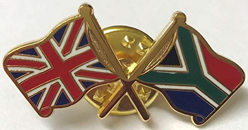 Matfords UK & Südafrika, Freundschaftsflaggen, Metall, Anstecknadel ca. 30 mm x 14 mm, anlaufgeschützt durch Hartemaille. Dieser Anstecker hat einen Schmetterlingsverschluss auf der Rückseite