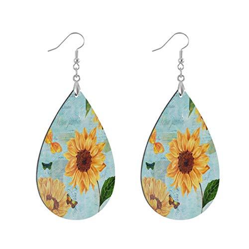 Sunflower Newspaper Butterfly Light Blue Drop Dangle Earrings for Women Girls Jewelry Fashion, Teardrop Waterdrop Earrings for Christmas Valentine Birthday Party Gift, 1 Pairs
