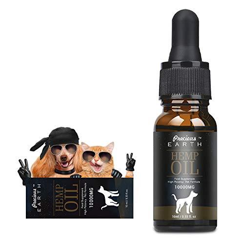 PRECIOUS EARTH Hemp Natural Oil for Dogs & Cats,Hemp Pure Oil for Pets, Rich in Vitamin E,B & Omega 3, 6 & 9 (10000MG/10ML)