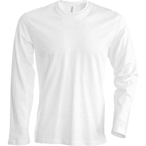 Kariban T-Shirt à Manches Longues Coupe cintrée pour Homme (2XL) (Blanc)