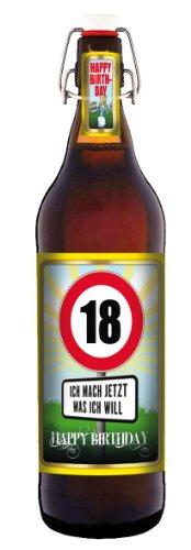 Geburtstag 18 Jahre - Herzlichen Glückwunsch - 1 Liter Flasche mit Bügelverschluss