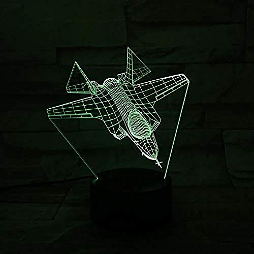 3D Led Night Light USB F-35A / B/C Warcraft Modelo Illusion Lampara Fighter Luces decorativas Avión de combate Avión Lámpara de mesa Mesita de noche