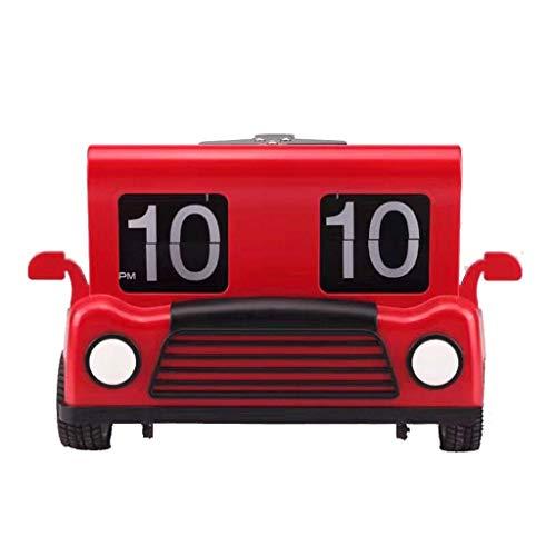 MKKM Neuheit Home Wanduhr, Creative Clock Truck Flip Clock Automatische Seitenuhr Retro Boot Flap Flop Piraten Anker Form Seitenuhr Multicolor,rot
