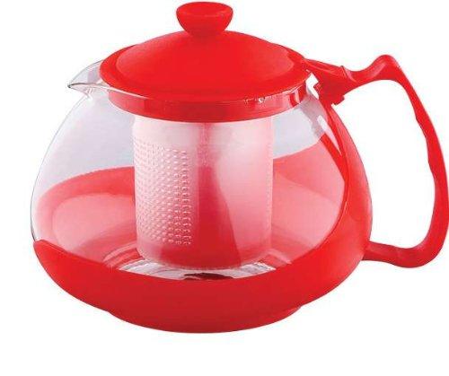 Teezubereiter 750 ml Teebereiter Teesieb Tee Teekanne Teekessel (Teekocher, Hitzebeständiges Glas, 0,75 Liter, Rot)