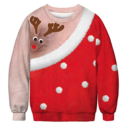 Great Features Of RUIVE Women's Christmas 3D Print Pullover Long Sleeves O-Neck Casual Loose Sweat...