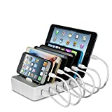 Station de Charge 6 port USB Chargeur USB Multiple Station Recharge Support de Charge Station Chargement pour iPhone iPad Samsung avec 6 Câbles court, (3 Câbles pour Apple et 3 Câbles USB C) Blanc