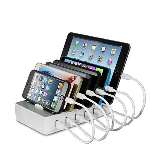 Ladestation Mehrere Geräte YOJA 6 Port USB Multi Ladestation Handy Tablet USB Ladegerät Type 1 mit 6 Kurze Kabel , Weiß