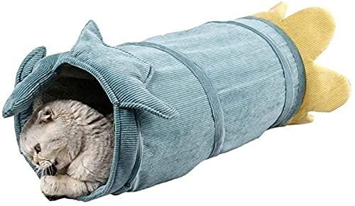 LTCTL Cat Tunnel Corduroy Funny Cat Tunnel Toy 2 Agujeros Sostiene Papel cálido y chirriante Durante Todo el Invierno (Color: Green, Size: S)