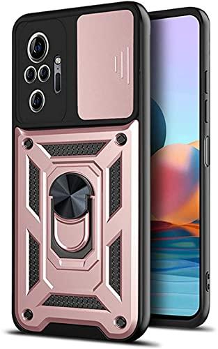 YDTT Funda para Xiaomi Redmi Note 10 Pro, Cámara Protección Carcasa con 360° Soporte Armor Antigolpes Resistente PC y Silicona TPU Bumper [Grado Militar Anti-Caída] - Oro Rosa