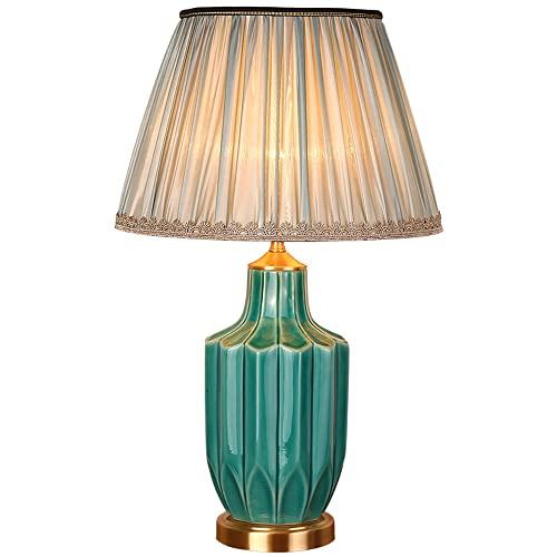 FAZRPIP Lámpara de Escritorio Lámpara de Noche para Dormitorio Lámpara de Mesa de cerámica esmaltada Verde Lámpara de Mesa Minimalista de Estilo Europeo Lámparas de Mesa Grandes para Sala de Estar