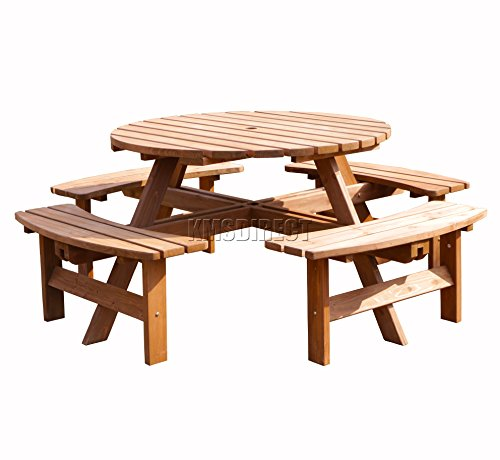 BIRCHTREE Garden Patio 8 Seater Wooden Pub Bench Round Picnic Table Outdoor Indoor Home Park furniture Brown New