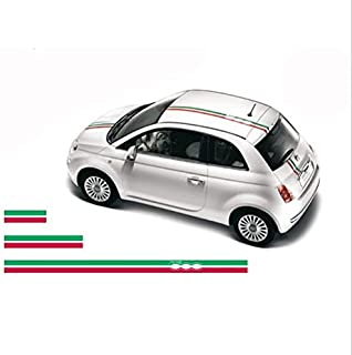 FIAT 500 Bonnet roof Decal Stripes Set Abarth 3 pcs. (red - Green)