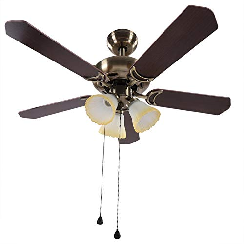 Ventilador de techo LED Ventilador de techo LED de 42'3 niveles de velocidad Luces y ventilador de techo reversible de 5 aspas