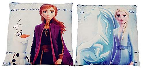 Disney Frozen 2 - Wendekissen Vorder- und Rückseite Bedruckt mit Anna mit Olaf und ELSA 40x40 cm, 1 Kissen - 2 Motive, Öko Tex Standard 100