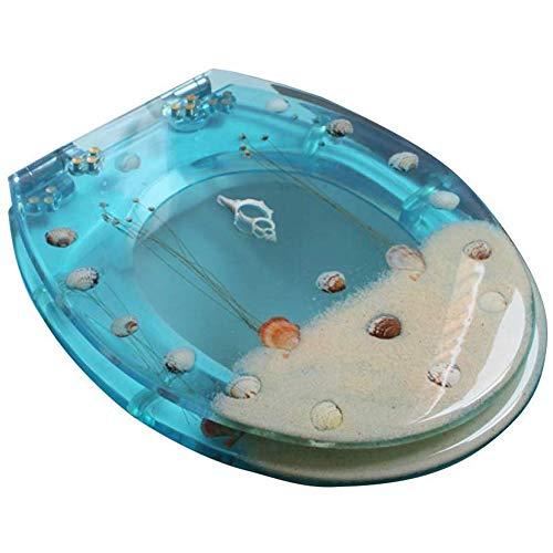 LCZ Ocean Series Art WC-Sitz Aus Kunstharz Mit Deckel, 3D-Effekt-Hochleistungstoilette,Blau