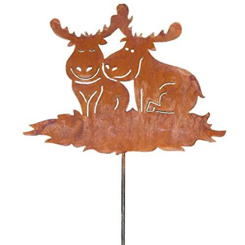 Rostikal Elch Weihnachtsdeko Gartenstecker 24 x 31 cm - Rentier Hirsch Figuren in Edelrost für Gartendeko Rost Deko Weihnachten aus Metall