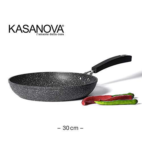 KASANOVA Padella New Petra Dark - Padella Antiaderente per Tutti i Piani Cottura - ø 30 cm