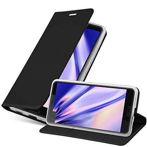 Cadorabo Hülle für HTC U Ultra - Hülle in SCHWARZ – Handyhülle mit Standfunktion & Kartenfach im Metallic Erscheinungsbild - Hülle Cover Schutzhülle Etui Tasche Book Klapp Style