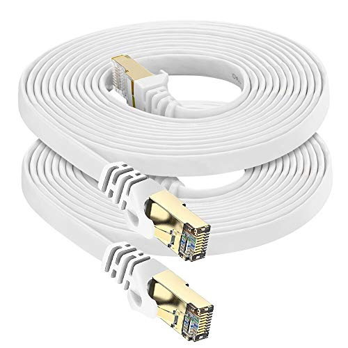 Cat7 Ethernet Cable Shielded (STP), Oxygen-Free Copper(OFC) - High Speed 32AWG LAN Network Cable with Gold Plated RJ45 Connector for Router, Modem, Gaming, POE, PS3, PS4, X-Box (10ft 2Pack, White)