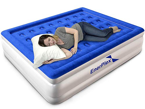 "EnerPlex Premium Luxury Queen Size Air Mattress Inflatable Airbed with Built in Pump Raised Double High Queen Blow Up Bed for Home Camping Travel 2-Year Warranty – 13"" High"