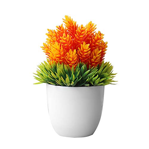 Bullker Kolefei Artificial Potted Plant Fake Bonsai Table Simulation Decor for Home Office Hotel for Home Orange