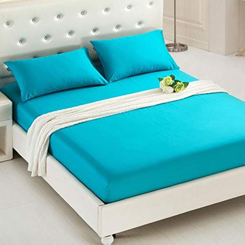 TIANCI Pure 24 Colors Solid Fitted Bedsheet Cotton Polyester Fitted Sheet Pure Colored Fitted Bed Sheets,CL001-15,90X200X20CM