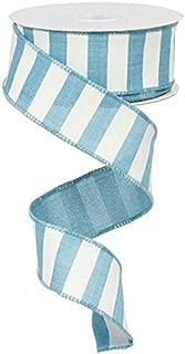 Horizontal Stripe Wired Edge Ribbon - 10 Yards (Turquoise, 1.5