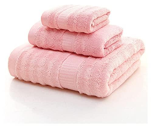 Seupeak Toallas de bambú Conjuntos de baño de 3 Amarillos, lujosas Premium de Lujo y colección de SPA Hoja de baño hogar, baños, Piscina y Gimnasio (Color : Pink)