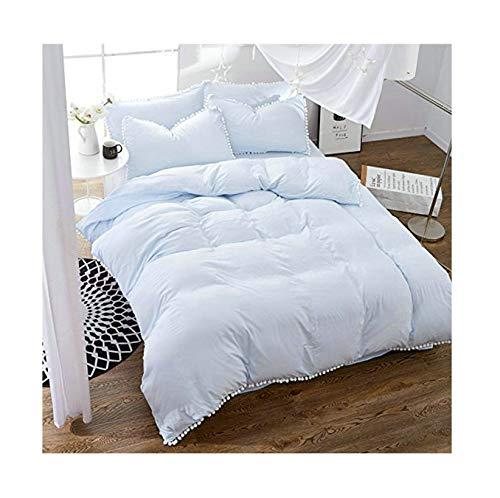 "Bed Set 4pcs Princess Style Hydro-Cotton Pleat Material Bedding Set Duvet Cover Flat Sheet Pillowcase Queen Set Size 78""x91"" Kid Adults Teens Sheet Set Pompon Edge No Comforter (Queen, Light Blue)"